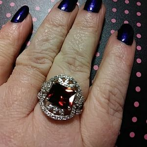 Jewelry - Sz7 Garnet and sapphire ring Sterling silver